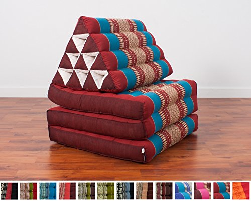 Leewadee Foldout Triangle Thai Cushion, 67x21x3 inches, Kapok Fabric, Blue Red, Premium Double Stitched by Leewadee