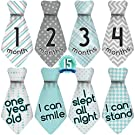 "NEW! Stick'Nsnap (TM) 15 Baby Monthly Necktie Onesie Stickers - ""Happy Patterns"" (TM), Turquoise/Gray. Milestones for 12 Months +3 Bonus Milestones - Best Baby Shower Gifts!"