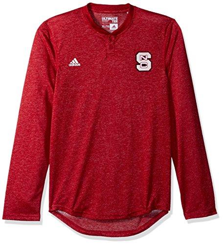 NCAA North Carolina State Wolfpack Adult Men Logo L/S Henley Tee,Large,Red (North Carolina Away Jersey)