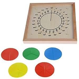 ZJL220 Montessori Material de Madera Fracciones Circulares Marcador Juguete Educativo para niños