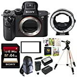 Sony Alpha a7RII Mirrorless Digital Camera (Body Only) + Metabones Canon EF Lens to Sony E-Mount T Smart Adapter + Sony 64GB Memory Card + Sony Screen Protect Semi-Hard Sheet + Accessory Kit