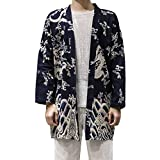 Hzcx Fashion Men's Cotton Linen Blends Vintage Cloak Open Front Coat DSC229-F25-65-DR-US XL TAG 5XL