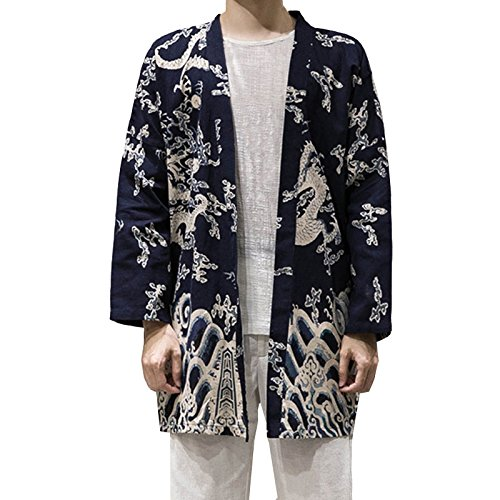 Hzcx Fashion Men's Cotton Linen Blends Vintage Cloak Open Front Coat DSC229-F25-65-DR-US M TAG XL