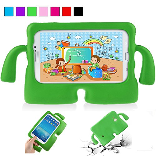 YooNow Samsung Tab 3 Cases for Kids Tab 3 Lite 7.0 Case Tab E Lite 7.0 Case Kids Shock Proof Durable Silicone Protective Case Cover with Carry Handle for Galaxy Tablet 3/ 3 Lite 7 Inch (Green) (Galaxy Tab 3 Case Handle)