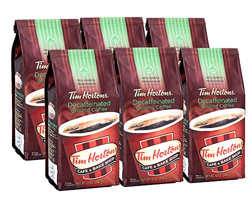 Tim Hortons 100% Arabica Medium Roast Decaffeinated Ground Coffee, 12 Ounce (Pack of 6)