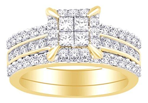 Cttw Bridal Enhancer - 14K Yellow Gold 1.05 cttw Princess & Round White Natural Diamond Enhancer Bridal Ring Set With RING Size-5