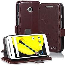 Vena Motorola Moto E (2nd Gen) Case [vFolio] Vintage Genuine Leather Wallet Stand Case Cover [Card Pockets] for Motorola Moto E (2nd Gen, 2015) (Brown / Black)