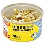 OOK by Hillman 50607 ReadyNail Conventional Brass Picture Hangers Tidy Tin Supports Up to 20 Pounds, 30 Units Set, 1-(Pack)