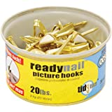 OOK by Hillman 50607 ReadyNail Conventional Brass Picture Hangers Tidy Tin Supports Up to 20 Pounds, 30 Units Set