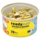 OOK 50607 ReadyNail Conventional Brass Picture Hook Tidy Tin Supports Up to 20 Pounds, 30 Units Set