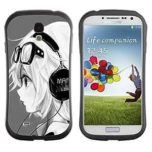 Suave TPU GEL Carcasa Funda Silicona Blando Estuche Caso de protección (para) Samsung Galaxy S4 I9500 / CECELL Phone case / / music headphones girl magna glasses /