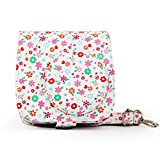 Protective Camera Case for Fujifilm Instax Mini 8 8+ / Mini 9 Instant Camera Premium Synthetic PU Leather Bag Beautiful Painting Pattern Instax Camera Cover with Removable Strap (Small floral)