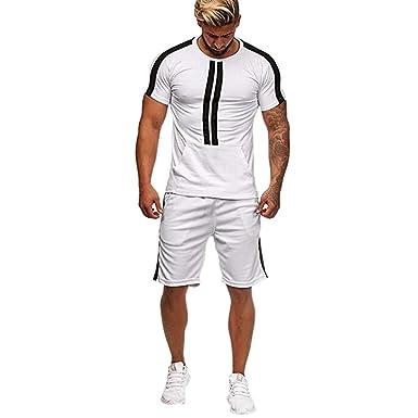 2 Pezzi Tuta Uomo Sportivo Estiva Strisce Completa Camicia