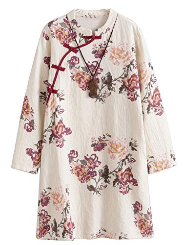Minibee Women's A-Line Dress Ethnic Floral Print Dresses Long Sleeve Retro Linen Tunic Red M