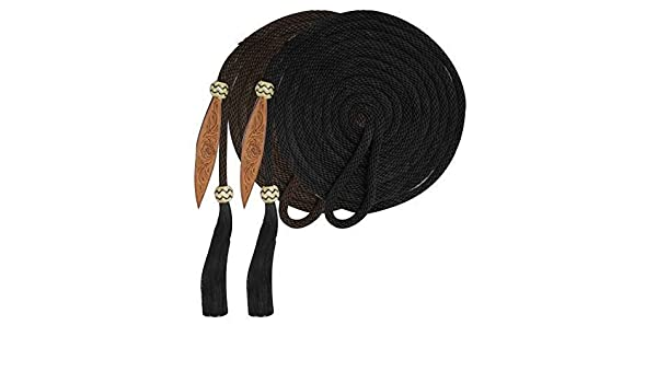 Showman 23/' Round Braided Nylon MECATE REINS Horse Hair Tassel /& Rawhide Accents