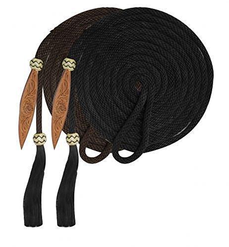 21' Braided Nylon Mecate Reins Leather Tooled Popper Horsehair Tassle Rawhide (Horsehair Reins)