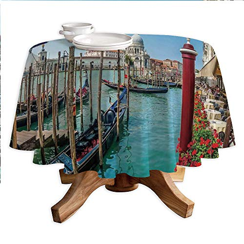 (Wanderlust Decor Round Polyester Tablecloth,Gondola on Canal Grande Basilica di Santa Maria Della Salute Sunny Day in Venice,Dining Room Kitchen Round Table Cover,42