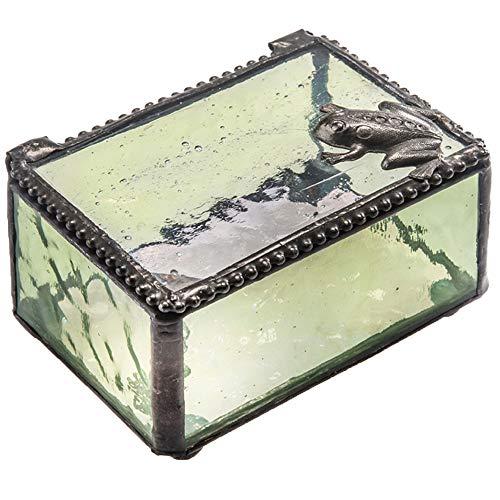 J Devlin Box 174 Frog Trinket Box Green Stained Glass Decorative Keepsake Gift