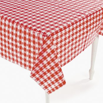 Plastic White Checkered Table Cover