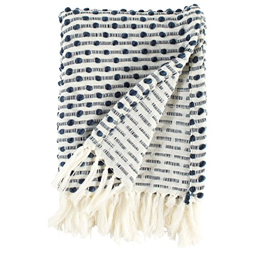 Rivet Bubble Textured Lightweight Decorative Fringe Throw Blanket, 47.7