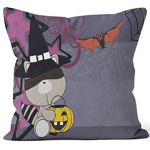 Nine City Baby Raccoon Witch Costume Cartoon Halloween Throw Pillow Cushion Cover,HD Printing Decorative Square Accent Pillow Case,24