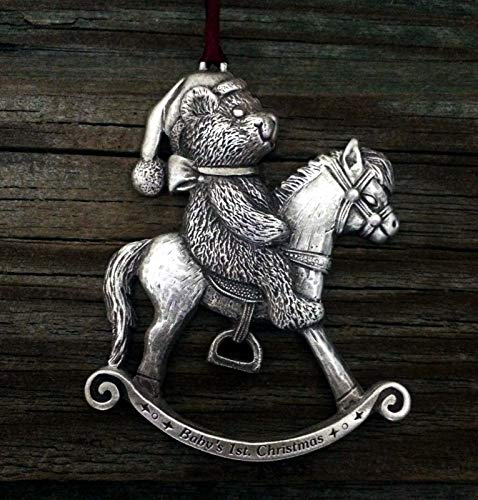 Baby's First Christmas Teddy Bear & His Rocking Horse Pewter Christmas Ornament All His Horses Rocking Horse