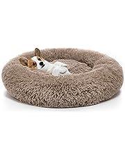 Pet Calming Bed,Soft Plush Donut Round Cuddler Cushion for Dog Cat,Washable,Non-Slip Waterproof Bottom