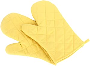 Oven Mitts, Premium Heat Resistant Kitchen Gloves Cotton & Polyester Quilted Oversized Mittens, 1 Pair (Yellow)