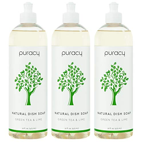 Puracy Dish Soap, Green Tea & Lime, Sulfate-Free, Natural Liquid Detergent, 16 Ounce (3-Pack)