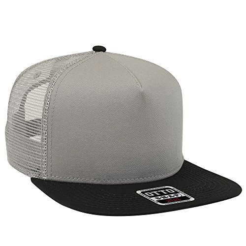 OTTO Square Flat Visor SNAP 5 Panel Mesh Back Trucker Snapback Hat - Blk/Gry/Gry ()