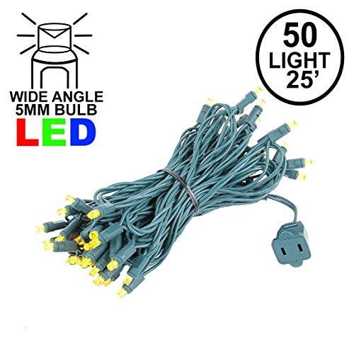 Novelty Lights 50 Light LED Christmas Mini Light Set, Outdoor Lighting Party Patio String Lights, Yellow, Green Wire, 25 Feet