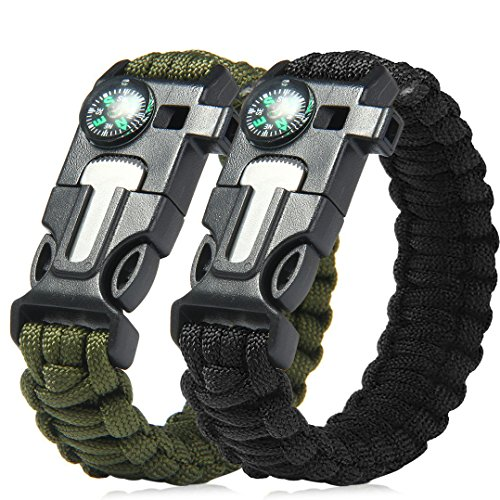 Pro Paracord Bracelet | Set of 2 Multi-functional Survival Gear 550 Lb Paracord Bracelet with Sharp Flint Blades Fire Starter Mini Compass & Whistle | Black & Green Army | 1021.2