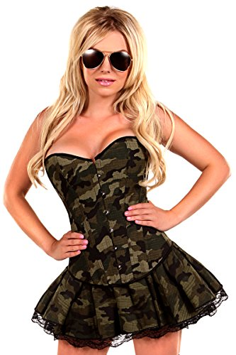 Daisy Corsets Women's 3 Piece Sexy Army Girl Costume, Green, 5X