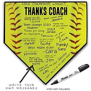 ChalkTalkSPORTS Softball Coach Home Plate Plaque | Thank You Coach | Ready to Autograph