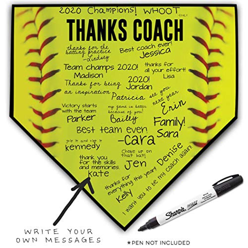 (ChalkTalkSPORTS Softball Stiches Home Plate Plaque | Thanks Coach | Ready to Autograph)