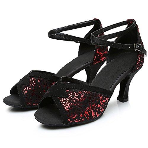 Azbro Mujer Zapato de Baile Latín Fiesta Lentejuelas de Puntera Abierta Rojo