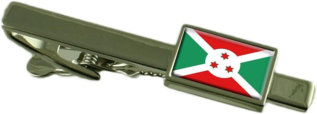 Keepsake Engraved Personalized Case Burundi Flag Tie Clip Bar 55mm