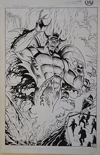 ROSS ANDRU PABLO MARCOS original art, BATMAN Annual 12, 1988, Satan Devil Splash