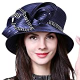 HISSHE Women Kentucky Derby Dress Church Wedding Party Feather Bucket Hat S608-A, Rhinestone-navy, Medium