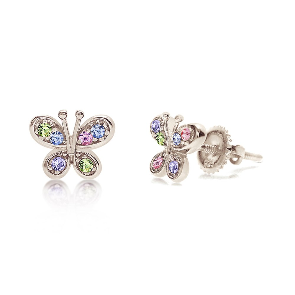Premium 8MM Crystal Butterfly Screwback Kids Baby Girl Earrings With Swarovski Elements By Chanteur – 925 Sterling, White Gold Tone – Perfect Gift For Children