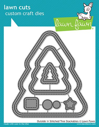 Stackable Tree - Lawn Fawn Outside in Stitched Christmas Tree Stackables Custom Craft Lawn Cut Die (LF1797)