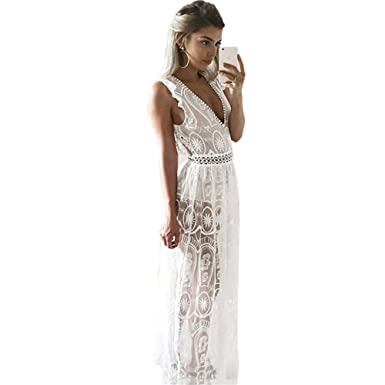 AICLOU Sexy Hollow Out White Lace Dress Women High Waist Sleeveless Backless Dress Elegant Christmas Maxi
