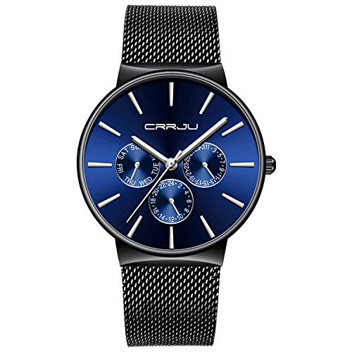 Mens Watches Ultra Slim Quartz Luxury Sub Dial Analogue Quartz Watch Men Waterproof Stainless Steel Mesh Belt Strap Classic Design Casual Dress Watch - Blue