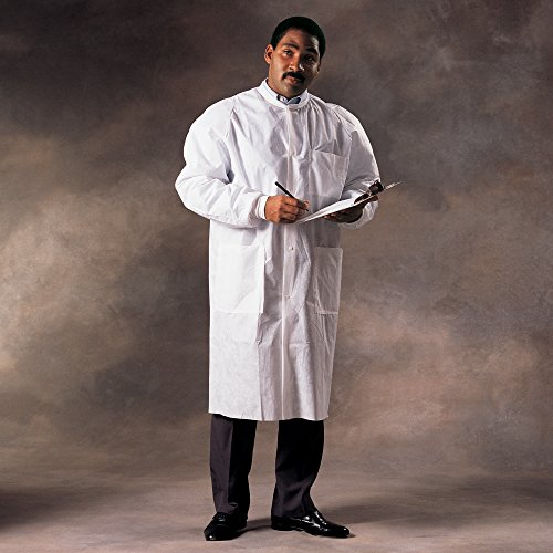Kimtech A8 Certified Lab Coats with Knit Cuffs and Collar (10024), Protective 3-Layer SMS Fabric, Knit Collar & Cuffs, Unisex, White, 2XL, 25 / Case by Kimberly-Clark (Image #1)