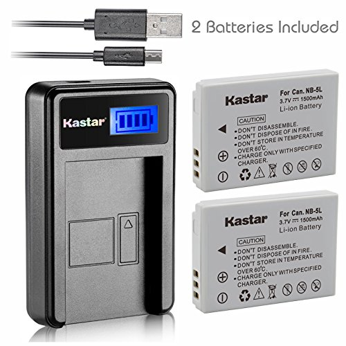 Kastar Battery (X2) & LCD USB Charger for Canon NB-5L and Powershot S100 S110 SX230 HS SX210 IS SD790 IS SX200 IS SD800 IS SD850 IS SD870 IS SD700 IS SD880 IS SD950 IS SD890 IS SD970 IS SD990 IS ()