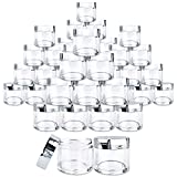 Beauticom 180 Pieces 30G/30ML(1 Oz) Round Clear Jars with Metallic SILVER Flat Top Lids for Herbs, Spices, Loose Leaf Teas, Coffee & Other Foods- BPA Free