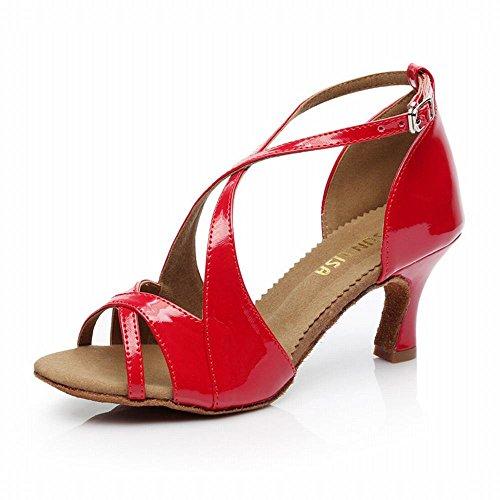 Schuhe BYLE Nach Boden Rot Tanzen Onecolor Samba Tanz Leder 7 Latin Modern cm Freundschaft Weichen Tanzen Jazz Schuhe Tanzschuhe High Heel Sandalen nrqYv6Ar