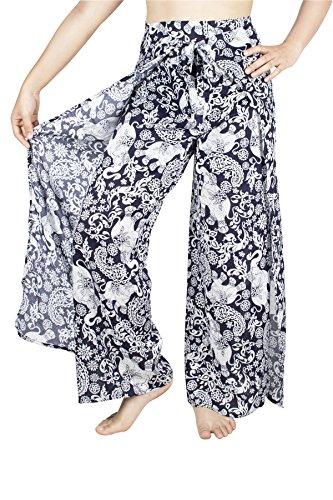 Lofbaz Women's Plain Palazzo Fisherman Rayon Wrap Pants - Elephant 4 Navy - OS