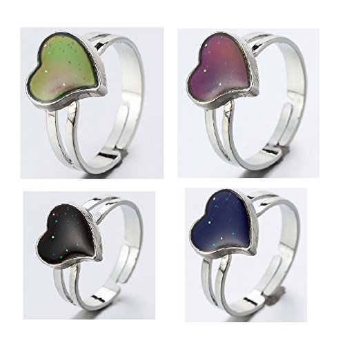 Adjustable Color Changing Mood Ring Inspirational Mystique Marble (Heart, Adjustable)