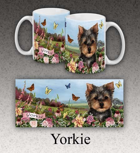 Dog Breed Garden (Dog Breed 10 oz. Garden Party Fun Mugz (Yorkie))